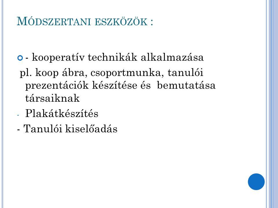 M ÓDSZERTANI ESZKÖZÖK : - kooperatív technikák alkalmazása pl.