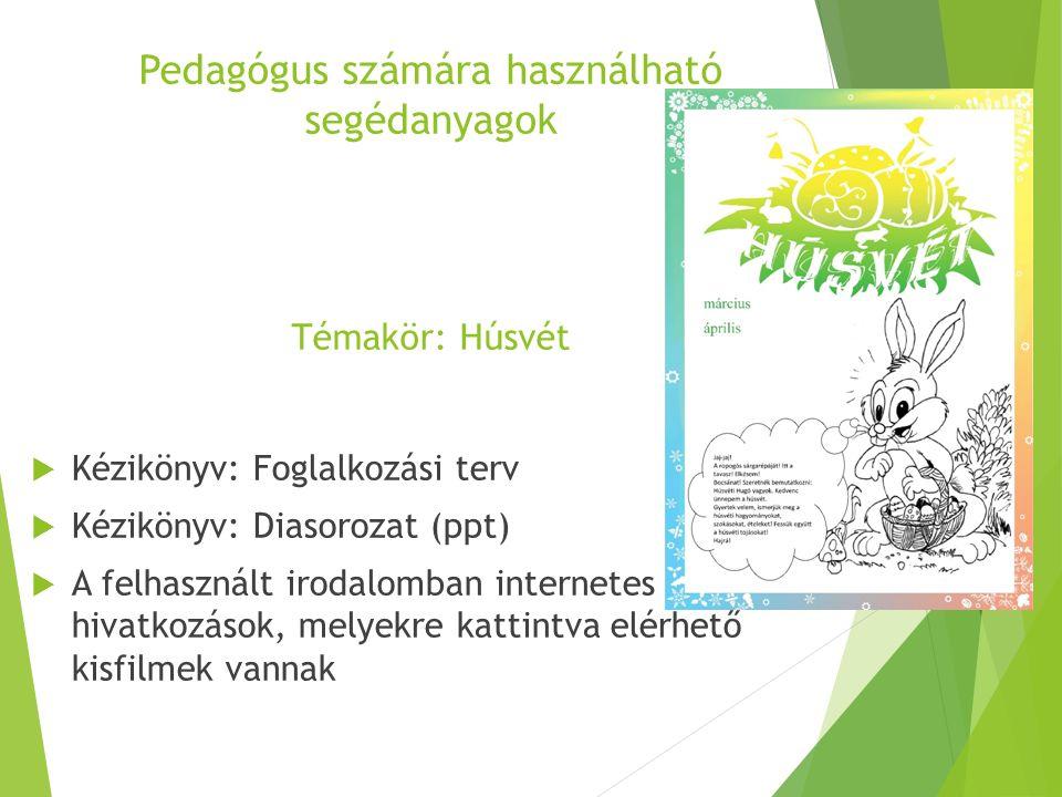 Pedagógus számára használható segédanyagok Témakör: Húsvét  Kézikönyv: Foglalkozási terv  Kézikönyv: Diasorozat (ppt)  A felhasznált irodalomban in