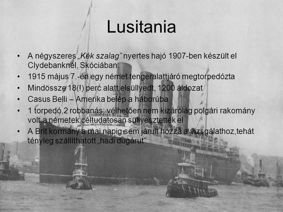 """Lusitania A négyszeres """"Kék szalag nyertes hajó 1907-ben készült el Clydebanknél, Skóciában."""