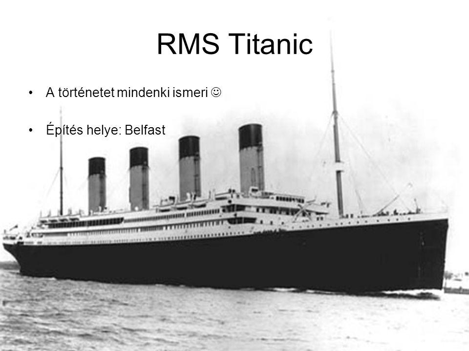 RMS Titanic A történetet mindenki ismeri Építés helye: Belfast