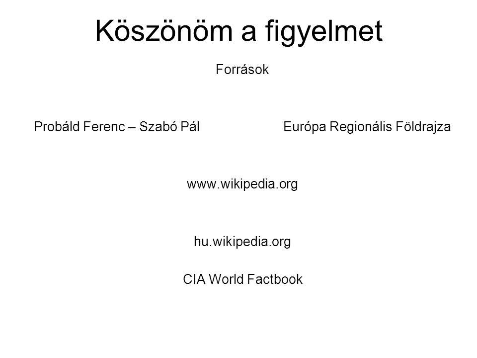 Köszönöm a figyelmet Források Probáld Ferenc – Szabó Pál Európa Regionális Földrajza www.wikipedia.org hu.wikipedia.org CIA World Factbook