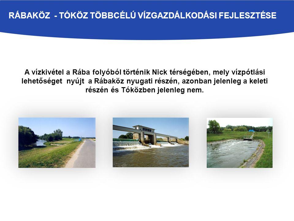 A vízkivétel a Rába folyóból történik Nick térségében, mely vízpótlási lehetőséget nyújt a Rábaköz nyugati részén, azonban jelenleg a keleti részén és
