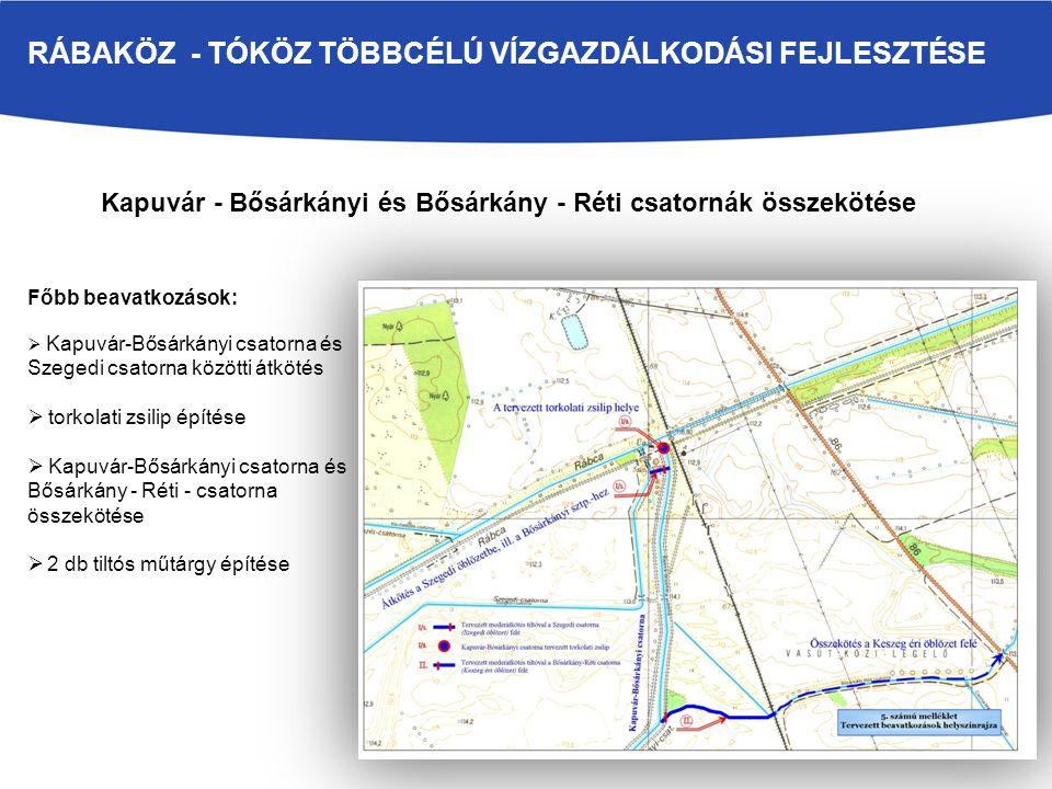 Kapuvár - Bősárkányi és Bősárkány - Réti csatornák összekötése Főbb beavatkozások:  Kapuvár-Bősárkányi csatorna és Szegedi csatorna közötti átkötés 
