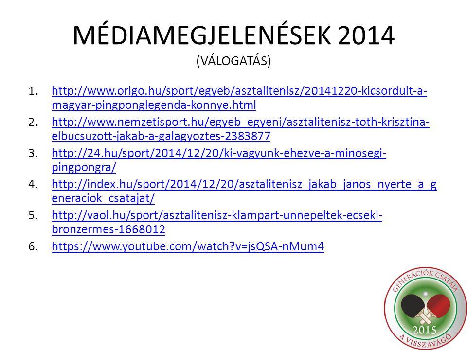 MÉDIAMEGJELENÉSEK 2014 (VÁLOGATÁS) 1.http://www.origo.hu/sport/egyeb/asztalitenisz/20141220-kicsordult-a- magyar-pingponglegenda-konnye.htmlhttp://www