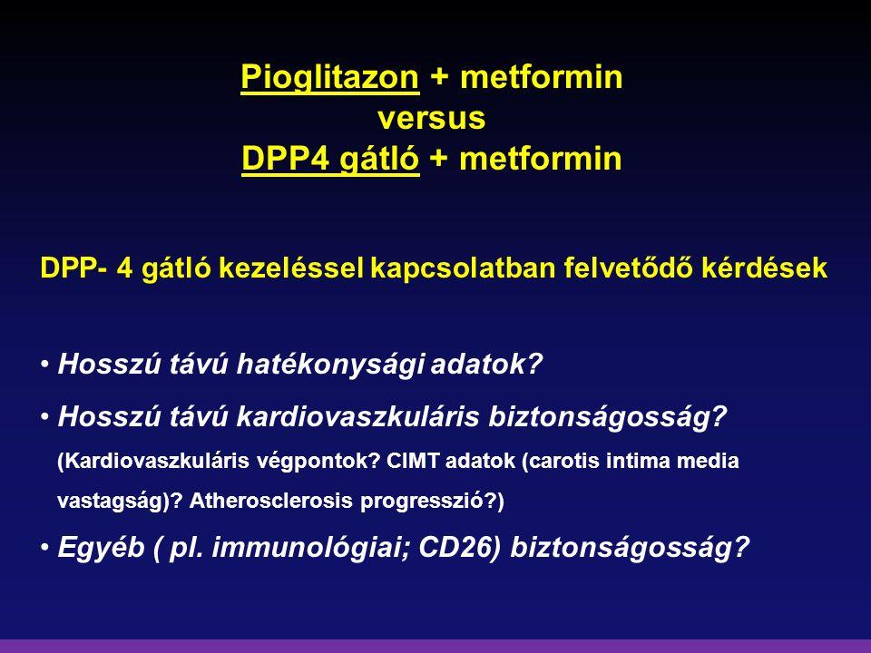 Pioglitazon + metformin versus DPP4 gátló + metformin DPP- 4 gátló kezeléssel kapcsolatban felvetődő kérdések Hosszú távú hatékonysági adatok? Hosszú