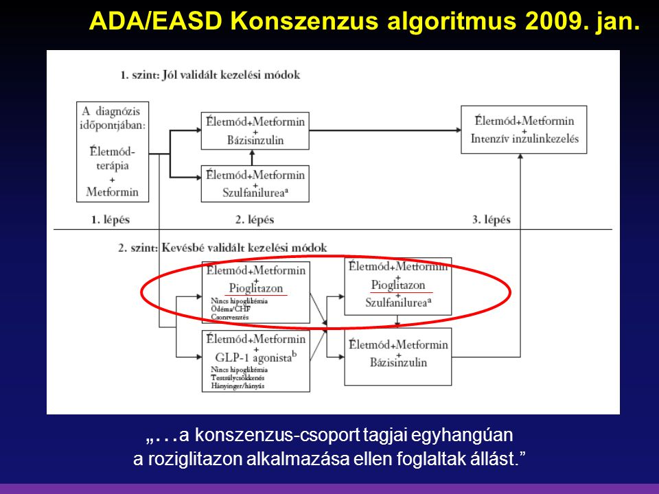 """ADA/EASD Konszenzus algoritmus 2009. jan. """"… a konszenzus-csoport tagjai egyhangúan a roziglitazon alkalmazása ellen foglaltak állást."""""""