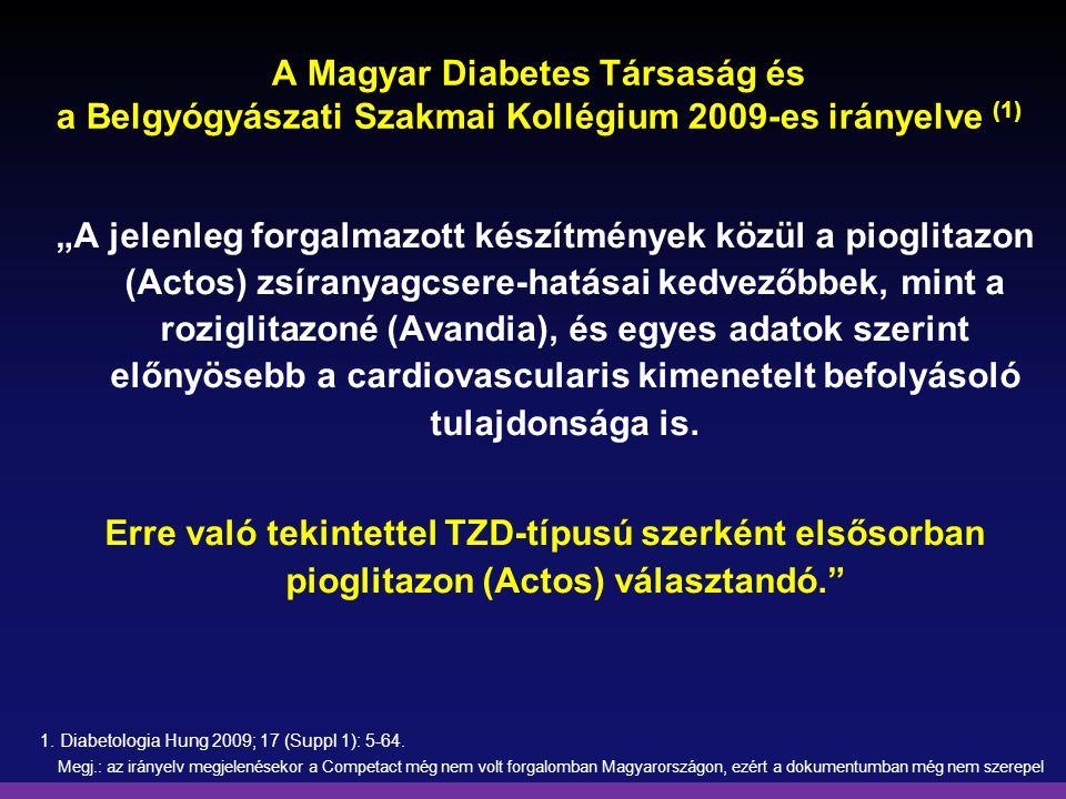 """A Magyar Diabetes Társaság és a Belgyógyászati Szakmai Kollégium 2009-es irányelve (1) """"A jelenleg forgalmazott készítmények közül a pioglitazon (Acto"""
