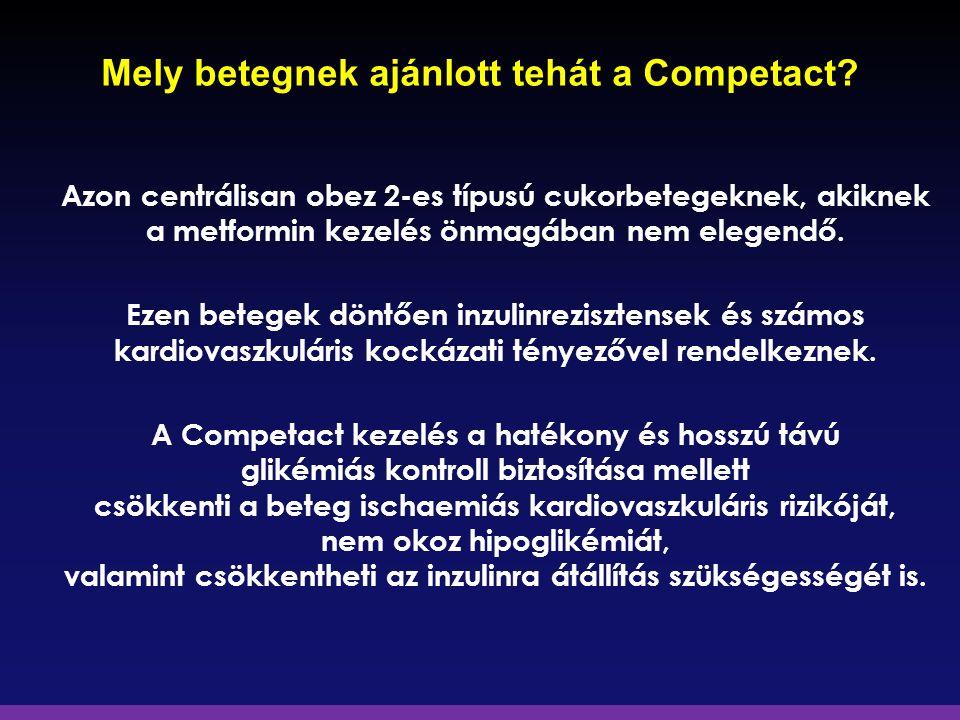 Mely betegnek ajánlott tehát a Competact? Azon centrálisan obez 2-es típusú cukorbetegeknek, akiknek a metformin kezelés önmagában nem elegendő. Ezen