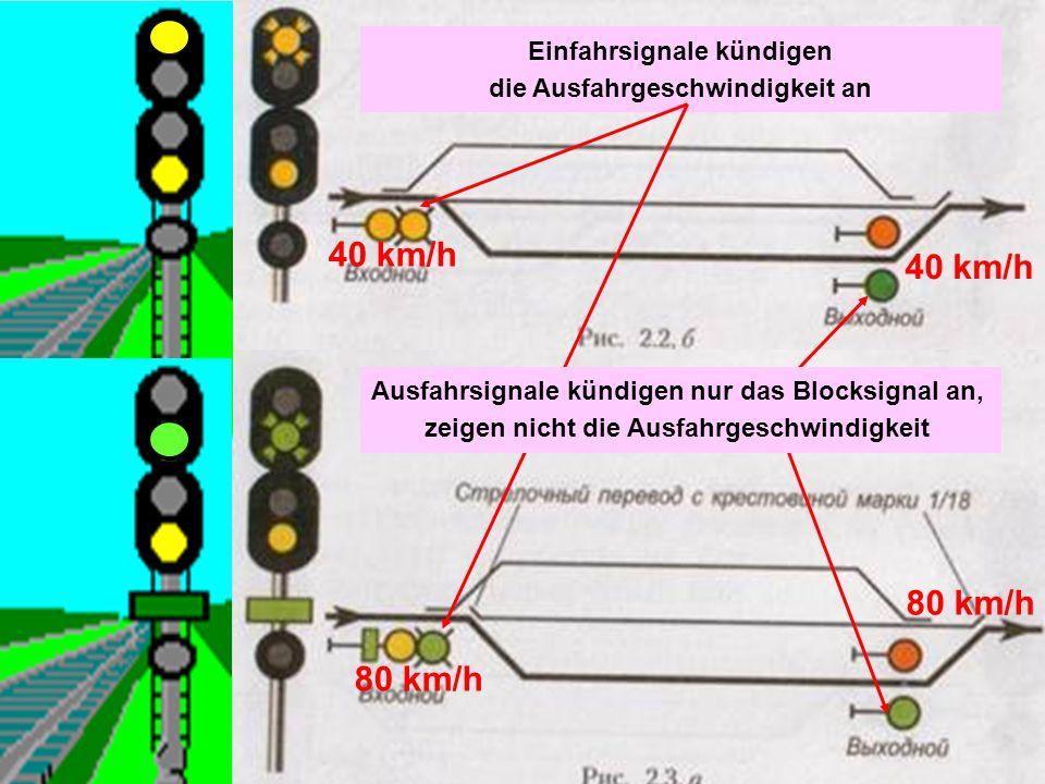 Einfahrsignale kündigen die Ausfahrgeschwindigkeit an 40 km/h 80 km/h 40 km/h 80 km/h Ausfahrsignale kündigen nur das Blocksignal an, zeigen nicht die