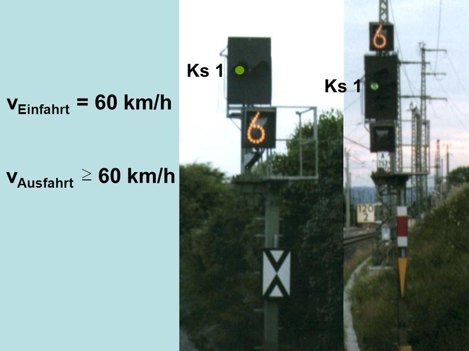 Ks 1 v Einfahrt = 60 km/h v Ausfahrt 60 km/h