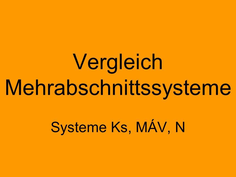 Vergleich Mehrabschnittssysteme Systeme Ks, MÁV, N