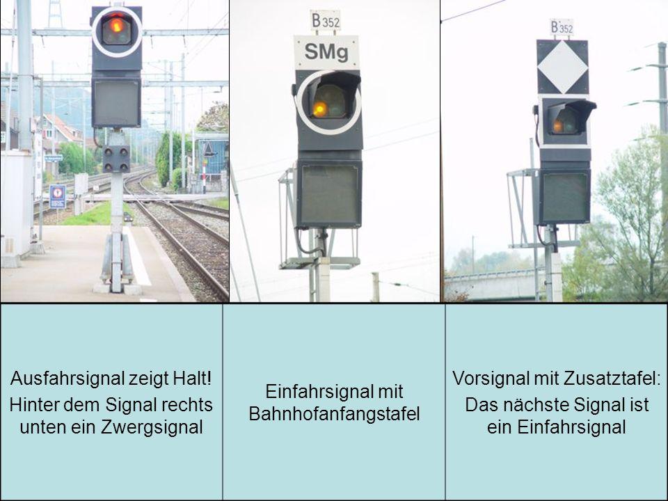 Ausfahrsignal zeigt Halt! Hinter dem Signal rechts unten ein Zwergsignal Einfahrsignal mit Bahnhofanfangstafel Vorsignal mit Zusatztafel: Das nächste