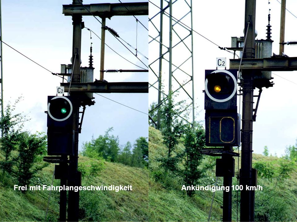 Die Geschwindigkeit zu Abzweigweiche wird angezeigt 80 km/h 40 km/h