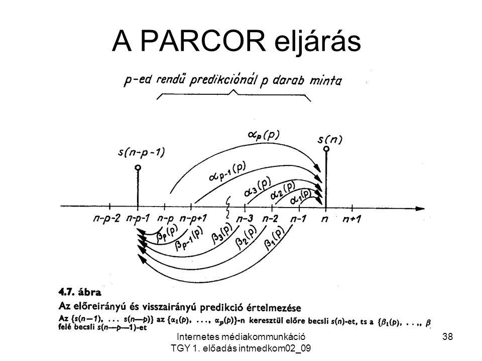 Internetes médiakommunkáció TGY 1. előadás intmedkom02_09 38 A PARCOR eljárás