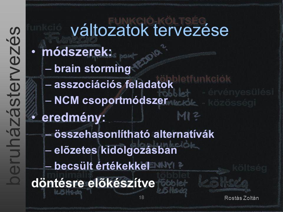 beruházástervezés 18 Rostás Zoltán változatok tervezése módszerek: –brain storming –asszociációs feladatok –NCM csoportmódszer eredmény: –összehasonlítható alternatívák –elõzetes kidolgozásban –becsült értékekkel döntésre elõkészítve