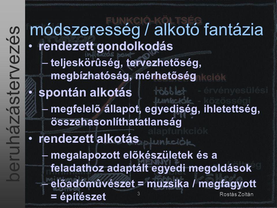 beruházástervezés 3 Rostás Zoltán módszeresség / alkotó fantázia rendezett gondolkodás –teljeskörûség, tervezhetõség, megbízhatóság, mérhetõség spontán alkotás –megfelelõ állapot, egyediség, ihletettség, összehasonlíthatatlanság rendezett alkotás –megalapozott elõkészületek és a feladathoz adaptált egyedi megoldások –elõadómûvészet = muzsika / megfagyott = építészet