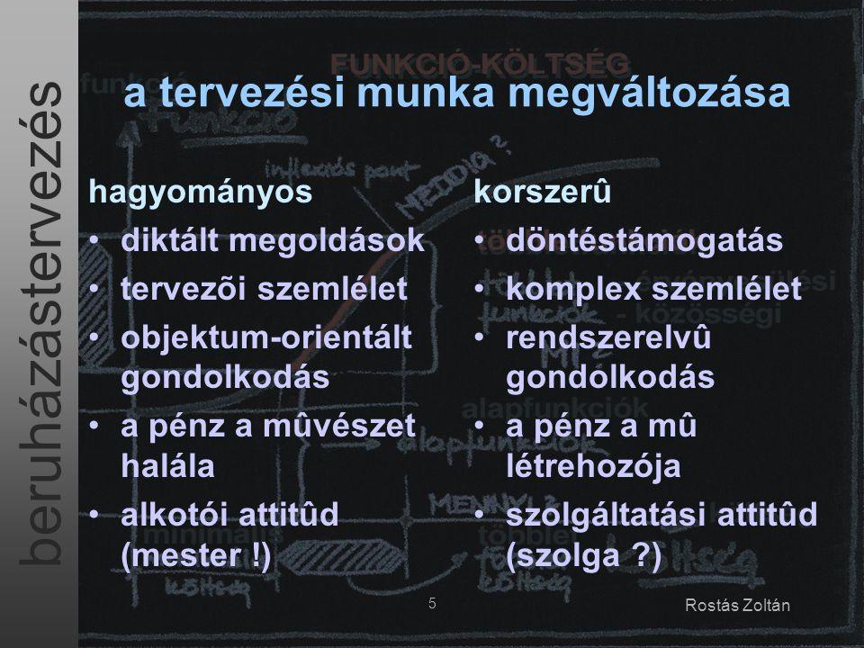 beruházástervezés 16 Rostás Zoltán B - benchmarking célok: –összevetés más hasonló intézményekkel –a tényleges lehetõségek és mûködés bemutatása –tanulságok (hibák) keresése eszközök: –ugyan az, mint az (A) audit esetében kulcsszavak: similis simili gaudet a másság akkor igazán izgató, ha másoknak is sokba kerül