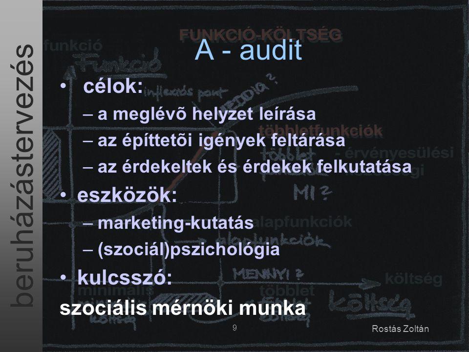 beruházástervezés 9 Rostás Zoltán A - audit célok: –a meglévõ helyzet leírása –az építtetõi igények feltárása –az érdekeltek és érdekek felkutatása eszközök: –marketing-kutatás –(szociál)pszichológia kulcsszó: szociális mérnöki munka