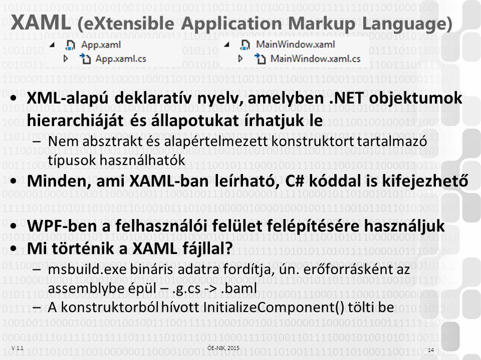 V 1.1ÓE-NIK, 2015 XAML XAML formátumú leírás: C# nyelvű leírás: A XAML leírásban az elemek.NET típusokból való példányosítást jelentenek Az attribútumokkal a példány tulajdonságait vagy eseményeit állítjuk 15 <CheckBox Content= Automatikus mentés Name= checkBox1 IsChecked= True Checked= checkBox1_Checked /> CheckBox checkBox1 = new CheckBox(); checkBox1.Content = Automatikus mentés ; checkBox1.IsChecked = true; checkBox1.Checked += checkBox1_Checked;