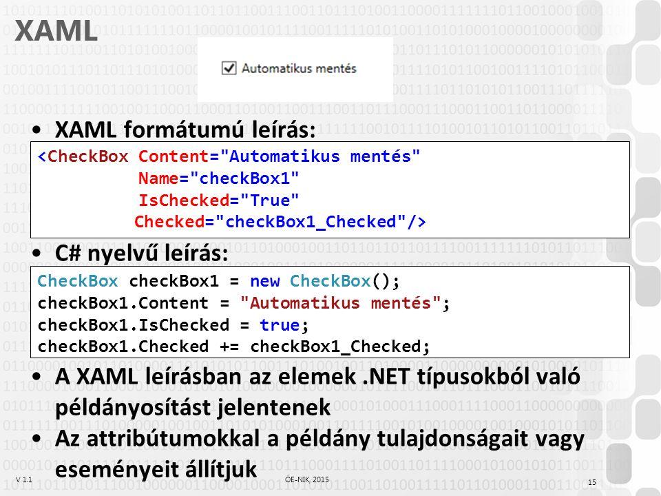 V 1.1ÓE-NIK, 2015 XAML XAML formátumú leírás: C# nyelvű leírás: A XAML leírásban az elemek.NET típusokból való példányosítást jelentenek Az attribútum