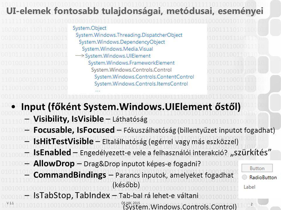 V 1.1ÓE-NIK, 2015 UI-elemek fontosabb tulajdonságai, metódusai, eseményei Input (főként System.Windows.UIElement őstől) –Visibility, IsVisible – Láthatóság –Focusable, IsFocused – Fókuszálhatóság (billentyűzet inputot fogadhat) –IsHitTestVisible – Eltalálhatóság (egérrel vagy más eszközzel) –IsEnabled – Engedélyezett-e vele a felhasználói interakció.