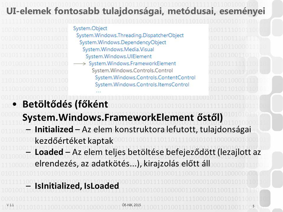 V 1.1ÓE-NIK, 2015 UI-elemek fontosabb tulajdonságai, metódusai, eseményei Betöltődés (főként System.Windows.FrameworkElement őstől) –Initialized – Az elem konstruktora lefutott, tulajdonságai kezdőértéket kaptak –Loaded – Az elem teljes betöltése befejeződött (lezajlott az elrendezés, az adatkötés...), kirajzolás előtt áll –IsInitialized, IsLoaded 5