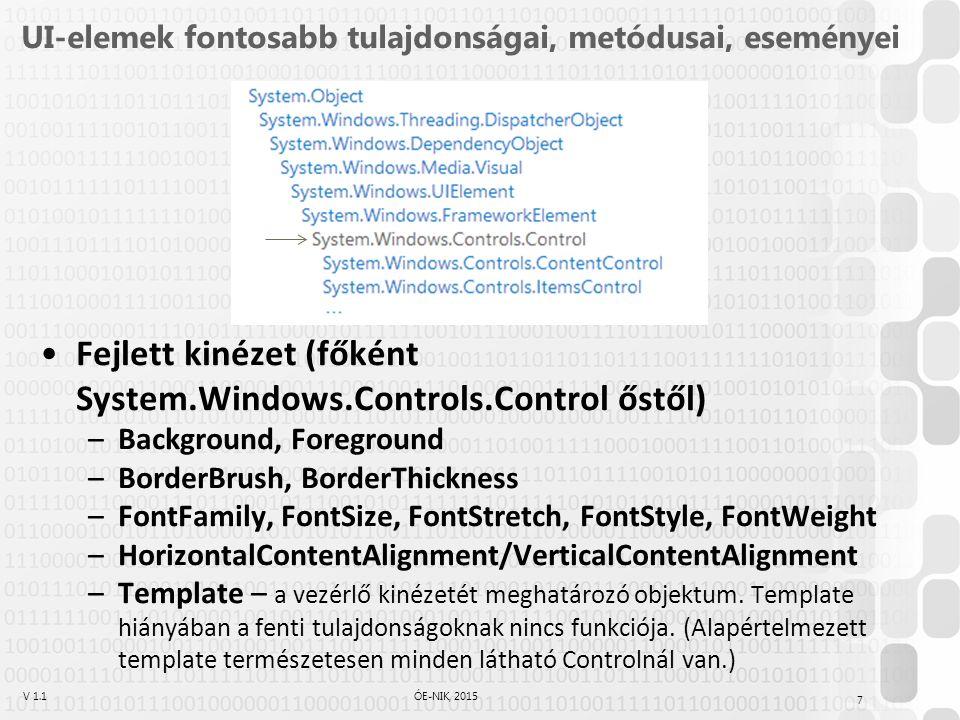 V 1.1ÓE-NIK, 2015 UI-elemek fontosabb tulajdonságai, metódusai, eseményei Fejlett kinézet (főként System.Windows.Controls.Control őstől) –Background, Foreground –BorderBrush, BorderThickness –FontFamily, FontSize, FontStretch, FontStyle, FontWeight –HorizontalContentAlignment/VerticalContentAlignment –Template – a vezérlő kinézetét meghatározó objektum.