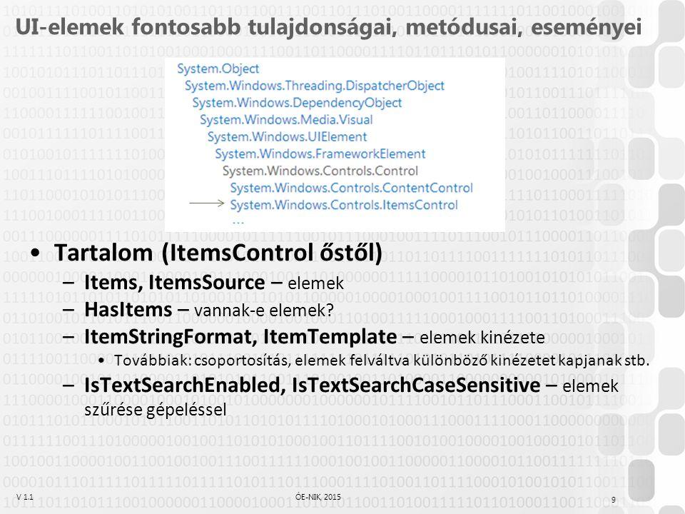 V 1.1ÓE-NIK, 2015 UI-elemek tulajdonságai, metódusai, eseményei Természetesen az ősökön kívül maguk az osztályok is definiálnak ilyeneket Pl: –Button: Click esemény – kattintás történt –TextBox: Text –TextBox: LineCount – sorok száma –TextBox: SelectionStart, SelectionLength, SelectedText – szelekcióval kapcsolatos tulajdonságok –TextBox: GetLineLength(), GetLineText(), ScrollToLine() – sorokat kezelő függvények –TextBox: Select(), Clear()… – kijelölés, törlés –RadioButton: GroupName – csoportnév: ez határozza meg azokat a rádiógombokat, amik nem jelölhetők ki egymás mellett –… 10