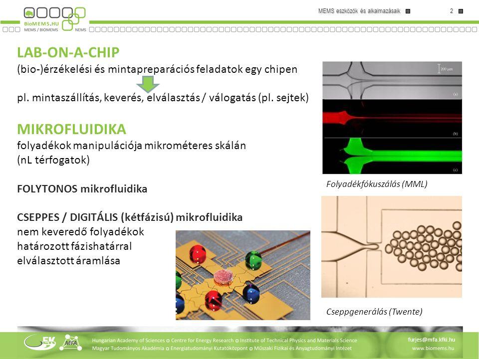 2 MEMS eszközök és alkalmazásaik furjes@mfa.kfki.hu LAB-ON-A-CHIP (bio-)érzékelési és mintapreparációs feladatok egy chipen pl. mintaszállítás, keveré