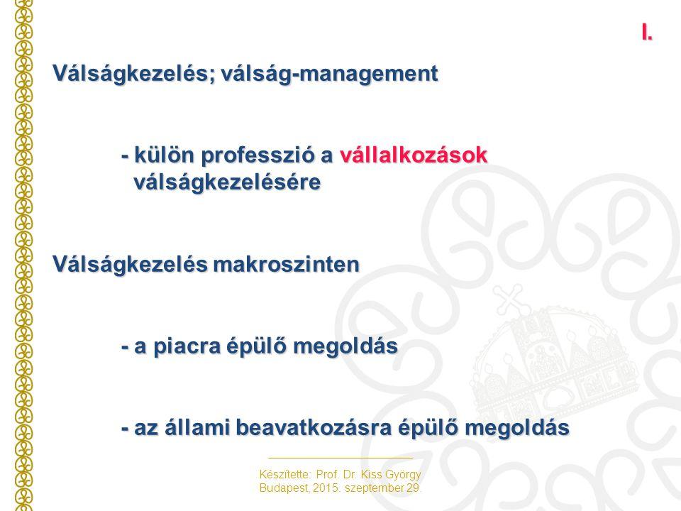 Készítette: Prof. Dr. Kiss György Budapest, 2015. szeptember 29.