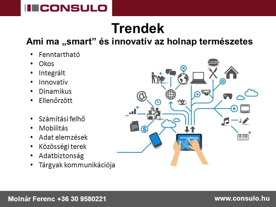 """www.consulo.hu Molnár Ferenc +36 30 9580221 Ami ma """"smart és innovatív az holnap természetes Trendek Fenntartható Okos Integrált Innovatív Dinamikus Ellenőrzött Számítási felhő Mobilitás Adat elemzések Közösségi terek Adatbiztonság Tárgyak kommunikációja"""