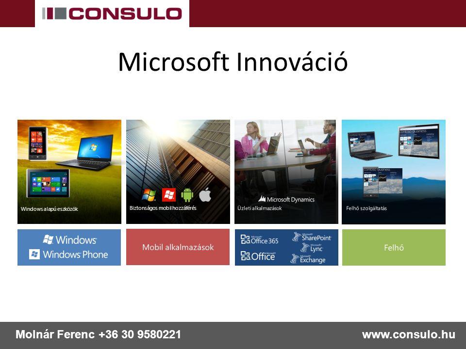 www.consulo.hu Molnár Ferenc +36 30 9580221 Biztonságos mobil hozzáférés Windows alapú eszközök Microsoft Innováció