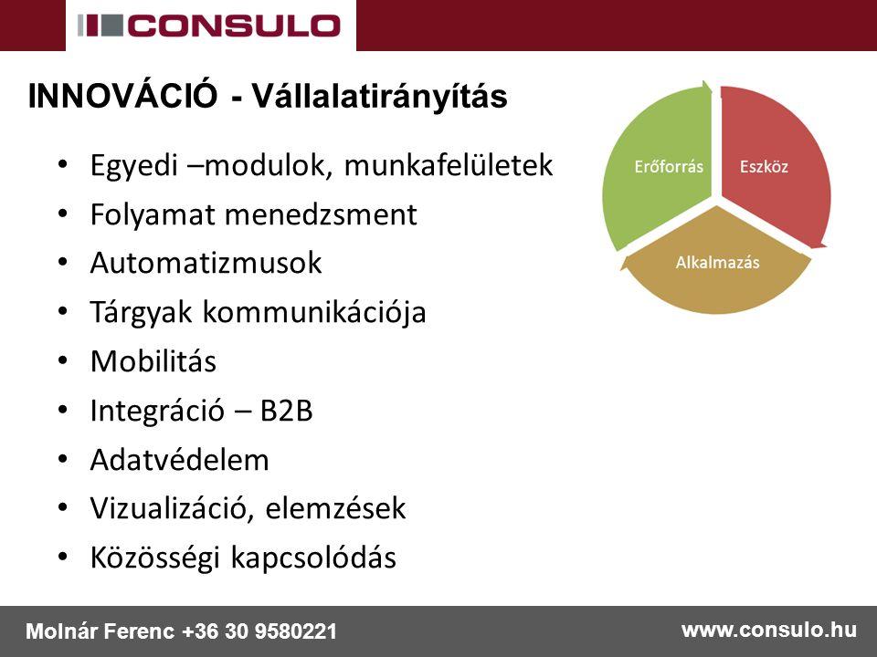 www.consulo.hu Molnár Ferenc +36 30 9580221 Egyedi –modulok, munkafelületek Folyamat menedzsment Automatizmusok Tárgyak kommunikációja Mobilitás Integráció – B2B Adatvédelem Vizualizáció, elemzések Közösségi kapcsolódás INNOVÁCIÓ - Vállalatirányítás