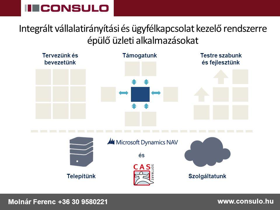 www.consulo.hu Molnár Ferenc +36 30 9580221 Tervezünk és bevezetünk Testre szabunk és fejlesztünk Támogatunk és TelepítünkSzolgáltatunk