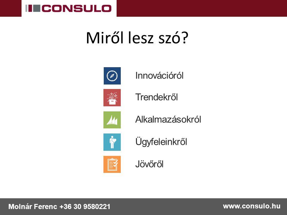 www.consulo.hu Molnár Ferenc +36 30 9580221 Miről lesz szó