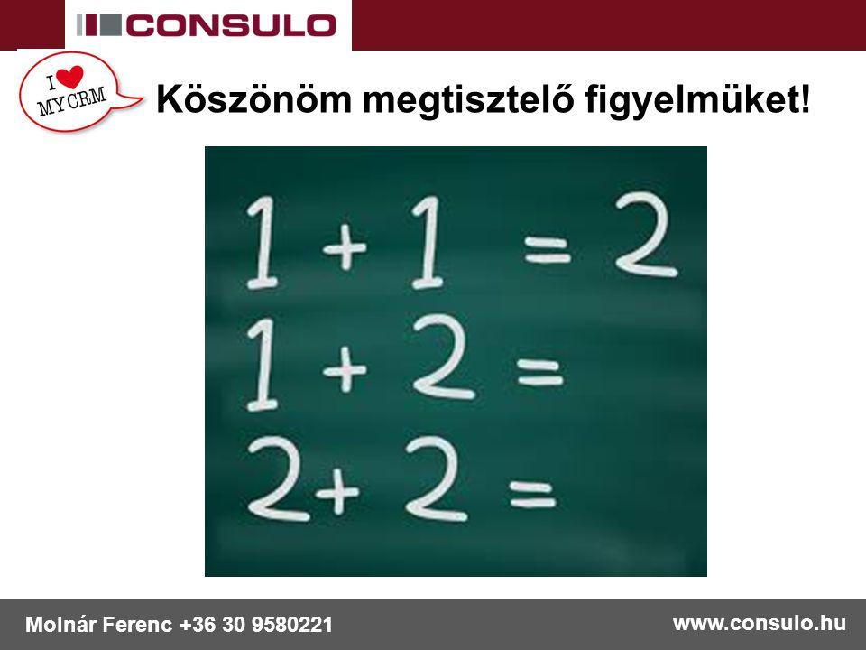 www.consulo.hu Molnár Ferenc +36 30 9580221 Köszönöm megtisztelő figyelmüket!