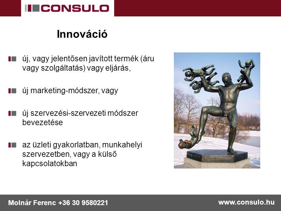 www.consulo.hu Molnár Ferenc +36 30 9580221 Innováció új, vagy jelentősen javított termék (áru vagy szolgáltatás) vagy eljárás, új marketing-módszer, vagy új szervezési-szervezeti módszer bevezetése az üzleti gyakorlatban, munkahelyi szervezetben, vagy a külső kapcsolatokban