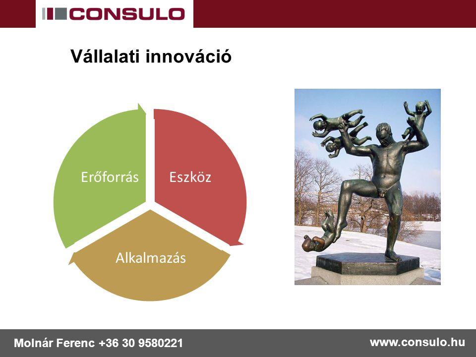 www.consulo.hu Molnár Ferenc +36 30 9580221 Vállalati innováció Eszköz Alkalmazás Erőforrás