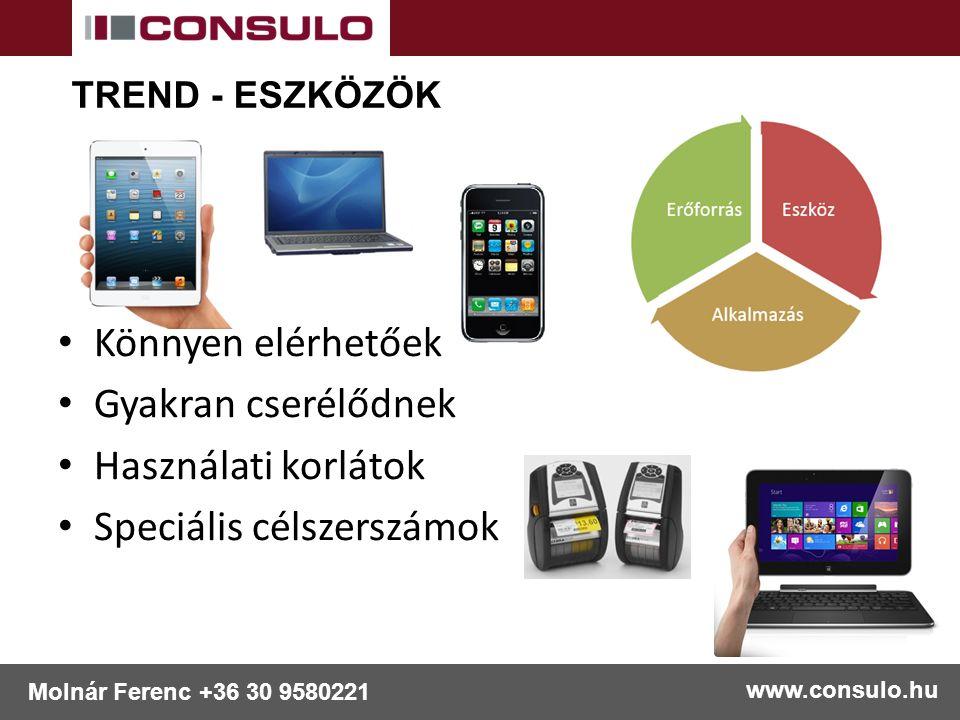 Könnyen elérhetőek Gyakran cserélődnek Használati korlátok Speciális célszerszámok www.consulo.hu Molnár Ferenc +36 30 9580221 TREND - ESZKÖZÖK