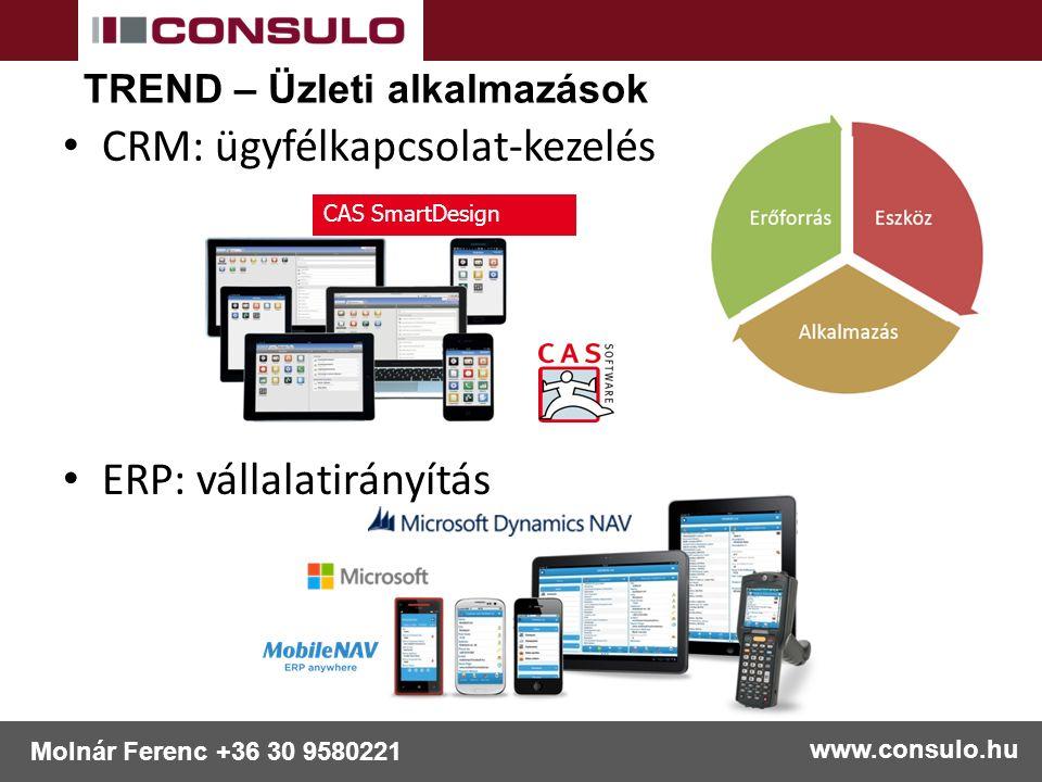 CRM: ügyfélkapcsolat-kezelés ERP: vállalatirányítás www.consulo.hu Molnár Ferenc +36 30 9580221 CAS SmartDesign TREND – Üzleti alkalmazások