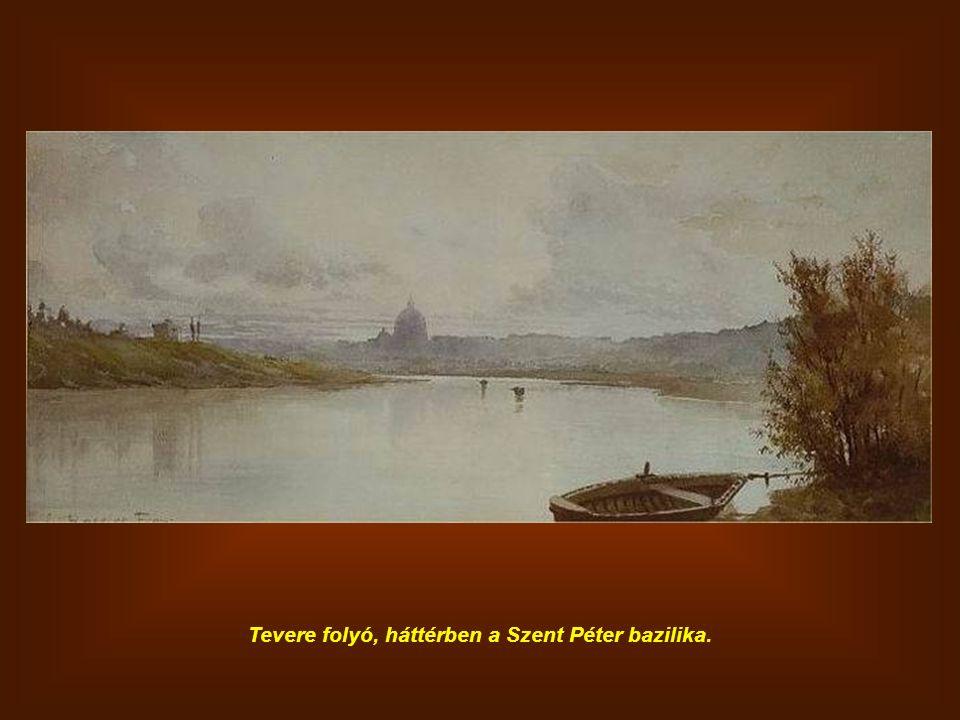 Tevere folyó, háttérben a Szent Péter bazilika.