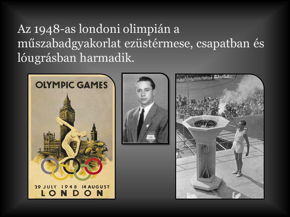 Akik ott voltak vele az olimpiai megnyitón: Baranyai László, Fekete József, Pataki Ferenc, Sántha Lajos, Tóth Lajos, Várkői Ferenc Rövid részlet az olimpia ünnepélyes megnyitójából London 1948.