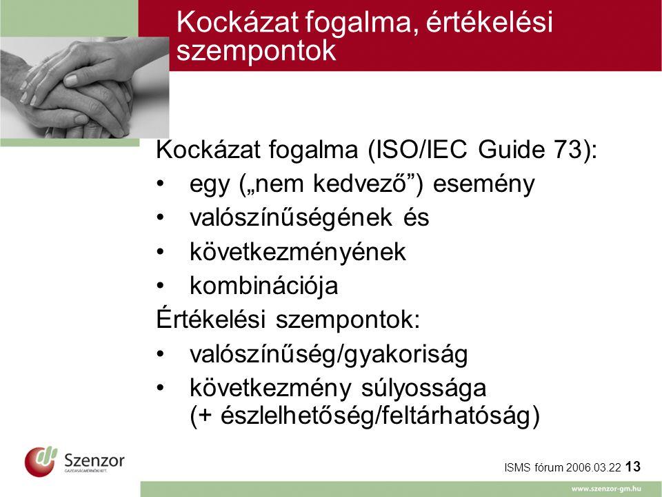"""ISMS fórum 2006.03.22 13 Kockázat fogalma, értékelési szempontok Kockázat fogalma (ISO/IEC Guide 73): egy (""""nem kedvező ) esemény valószínűségének és következményének kombinációja Értékelési szempontok: valószínűség/gyakoriság következmény súlyossága (+ észlelhetőség/feltárhatóság)"""