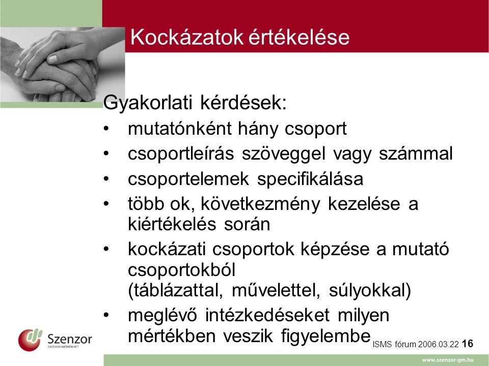 ISMS fórum 2006.03.22 16 Kockázatok értékelése Gyakorlati kérdések: mutatónként hány csoport csoportleírás szöveggel vagy számmal csoportelemek specif