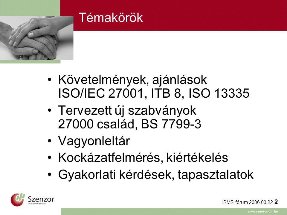 ISMS fórum 2006.03.22 2 Témakörök Követelmények, ajánlások ISO/IEC 27001, ITB 8, ISO 13335 Tervezett új szabványok 27000 család, BS 7799-3 Vagyonleltár Kockázatfelmérés, kiértékelés Gyakorlati kérdések, tapasztalatok