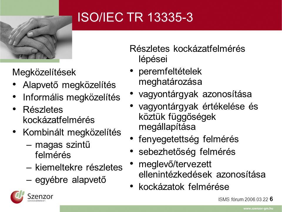 ISMS fórum 2006.03.22 6 ISO/IEC TR 13335-3 Részletes kockázatfelmérés lépései peremfeltételek meghatározása vagyontárgyak azonosítása vagyontárgyak értékelése és köztük függőségek megállapítása fenyegetettség felmérés sebezhetőség felmérés meglevő/tervezett ellenintézkedések azonosítása kockázatok felmérése Megközelítések Alapvető megközelítés Informális megközelítés Részletes kockázatfelmérés Kombinált megközelítés –magas szintű felmérés –kiemeltekre részletes –egyébre alapvető