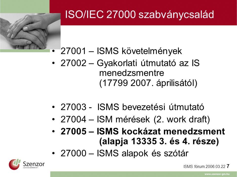 ISMS fórum 2006.03.22 7 ISO/IEC 27000 szabványcsalád 27001 – ISMS követelmények 27002 – Gyakorlati útmutató az IS menedzsmentre (17799 2007. áprilisát
