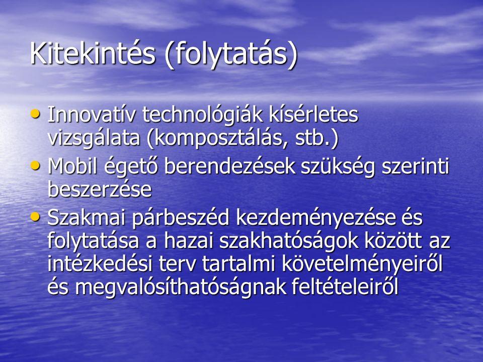Kitekintés (folytatás) Innovatív technológiák kísérletes vizsgálata (komposztálás, stb.) Innovatív technológiák kísérletes vizsgálata (komposztálás, stb.) Mobil égető berendezések szükség szerinti beszerzése Mobil égető berendezések szükség szerinti beszerzése Szakmai párbeszéd kezdeményezése és folytatása a hazai szakhatóságok között az intézkedési terv tartalmi követelményeiről és megvalósíthatóságnak feltételeiről Szakmai párbeszéd kezdeményezése és folytatása a hazai szakhatóságok között az intézkedési terv tartalmi követelményeiről és megvalósíthatóságnak feltételeiről