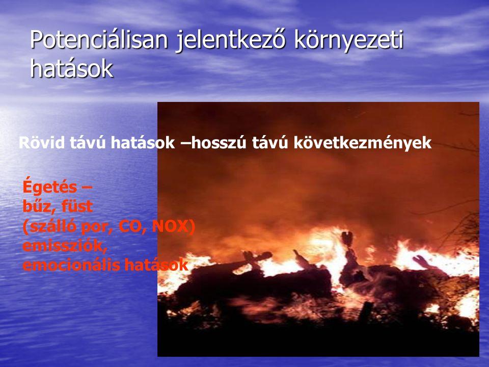 Potenciálisan jelentkező környezeti hatások Rövid távú hatások –hosszú távú következmények Égetés – bűz, füst (szálló por, CO, NOX) emissziók, emocionális hatások