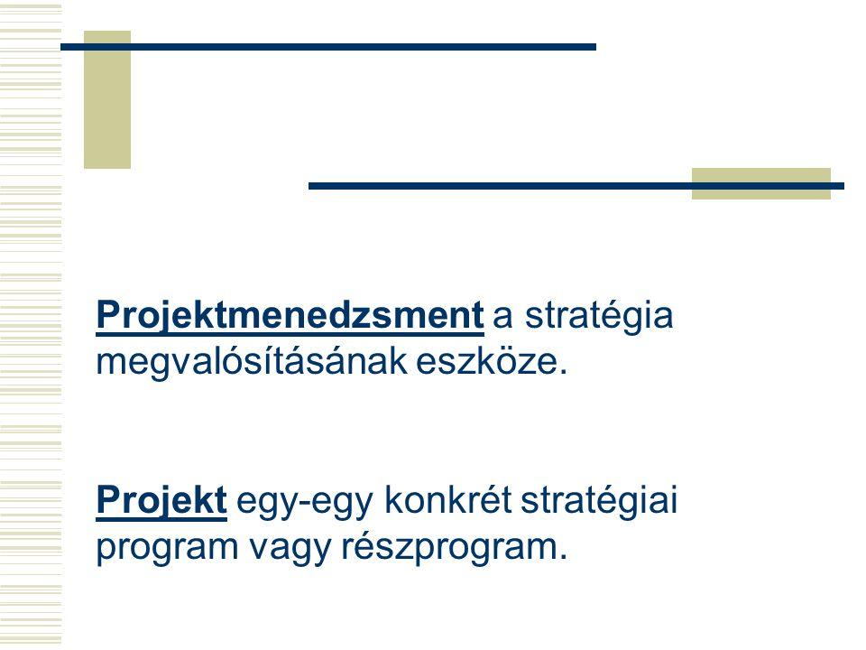 Stratégiák hierarchiája Külső belső tényezők Jövőkép Célkitűzések Konkrét célok Stratégiai programok Projektek